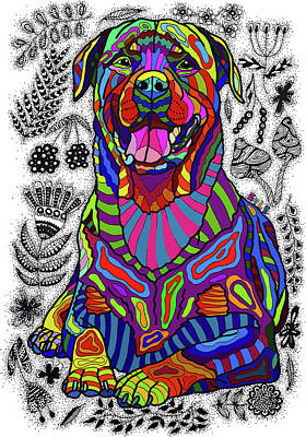 Rottweiler Dog Drawing - Rottweiler by ZileArt