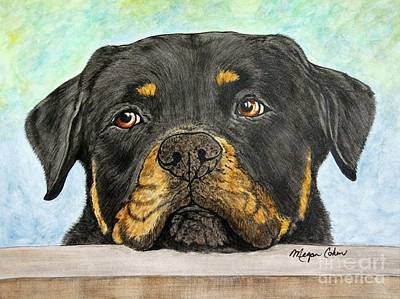 Pup Painting - Rottweiler's Sweet Face 2 by Megan Cohen