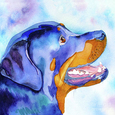 Rottweiler Wall Art - Painting - Rotty Rottweiler Blues by Jo Lynch