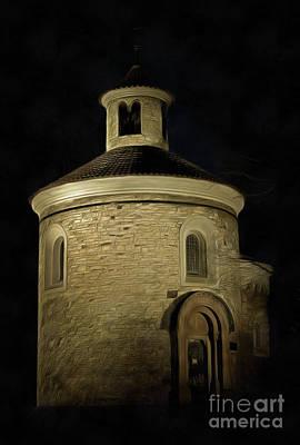 Tourist Attraction Digital Art - Rotunda Of St Martin At Night by Michal Boubin