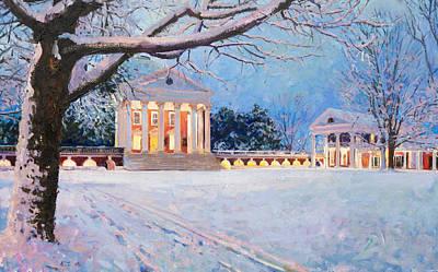 Thomas Jefferson Wall Art - Painting - Rotunda On A Snowy Night by Edward Thomas