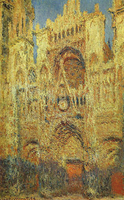 Medieval Temple Painting - Rouen Cathedral At Sunset by Claude Monet