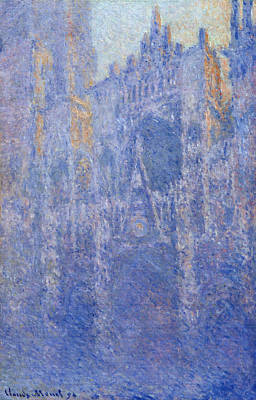 France Painting - Rouen Cathedral, The Portal, Morning Fog by Claude Monet