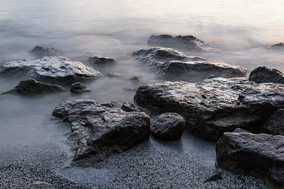 Photograph - Rough And Soft - Smoky Waves And Rocks On The Beach  by Georgia Mizuleva