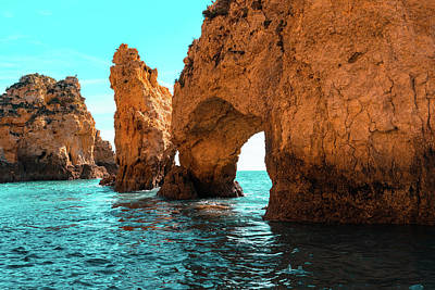 Photograph - Rough Beauty - Sea Stacks And Natural Arches In Orange And Teal by Georgia Mizuleva