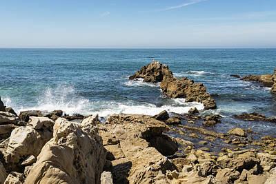 Photograph - Rough Coast Splash At Little Corona Del Mar Beach In Orange County California by Georgia Mizuleva