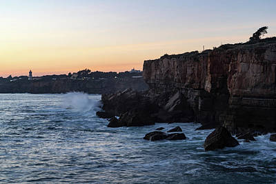 Photograph - Rough Coast - Sunset Cliffs At Farol Da Guia Lighthouse In Cascais Lisbon Portugal by Georgia Mizuleva