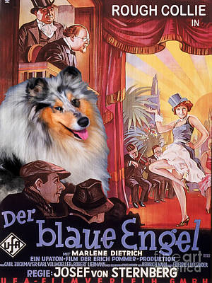 Painting - Rough Collie Art Canvas Print - Der Blaue Engel Movie Poster by Sandra Sij