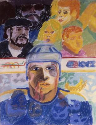 Ice Hockey Drawing - Rough Game by Ken Yackel