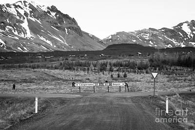 Gravel Road Photograph - rough gravel road junction in rural Iceland by Joe Fox