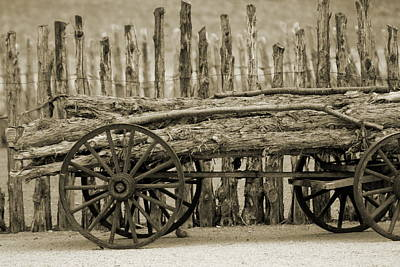 Photograph - Rough Logs On Wooden Cart In Front Of Rustic Fence In Sepia by Colleen Cornelius