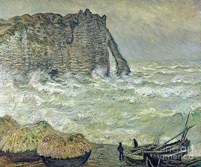 Choppy Painting - Rough Sea At Etretat by Claude Monet