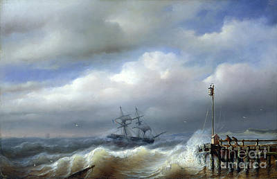 Rough Sea In Stormy Weather Art Print by Paul Jean Clays