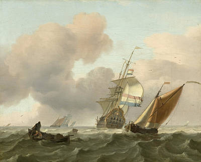 Painting - Rough Sea With Ships by Ludolf Bakhuizen