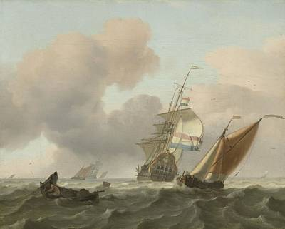 Painting - Rough Sea With Ships  Ludolf Bakhuysen 1697 by R Muirhead Art