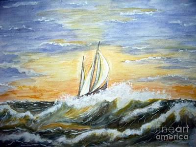 Art Print featuring the painting Rough Seas by Carol Grimes