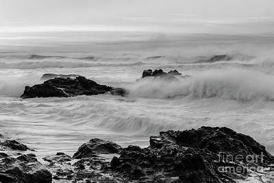 Strong America Photograph - Rough Waves In Black And White by Masako Metz