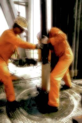 Jack Drill Digital Art - Roughnecks Stabbing The Hole by Dennis Thompson