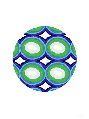 Green Digital Art - Round And Round Ball- Art By Linda Woods by Linda Woods