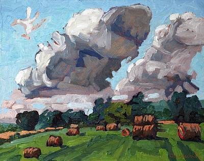 Thousand Islands Painting - Round Bale Cumulus by Phil Chadwick