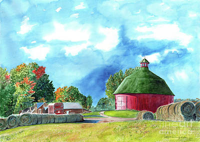 Painting - Round Bales, Round Red Barns, Barn Painting, Barn Prints by LeAnne Sowa