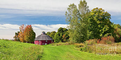 Photograph - Round Barn Fall Panorama by Alan L Graham