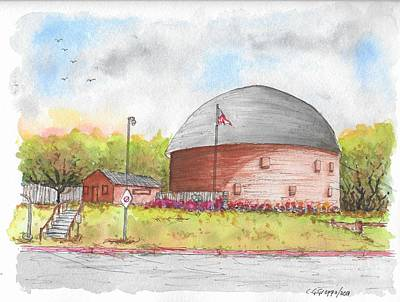 Painting - Round Barn In Route 66, Arcadia, Oklahoma by Carlos G Groppa