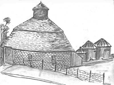 Drawing - Round Barn Iowa by Kevin Callahan