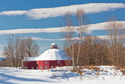 Photograph - Round Barn Winter Landscape by Alan L Graham