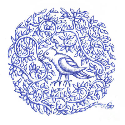 Drawing - Round Bird January 17 by Donna Huntriss