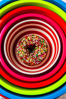 Bakery Photograph - Round Bowl With Donut by Garry Gay