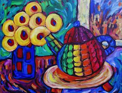 Painting - Round Ceramic Teapot And Flowers by Dianne  Connolly