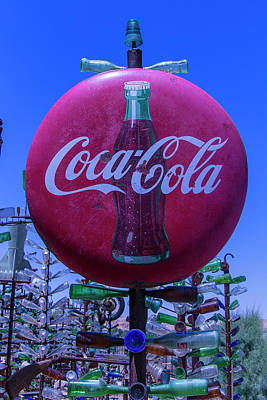 Round Coca Cola Sign Print by Garry Gay