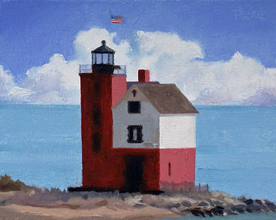 Painting - Round Island Light by Charles Pompilius