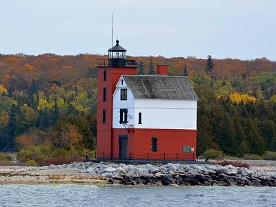 Photograph - Round Island Lighthouse In October by Keith Stokes