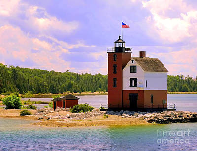 Painting - Round Island Lighthouse by Betsy Foster Breen