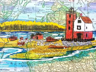 Round Island Lighthouse Michigan Original by Scott D Van Osdol
