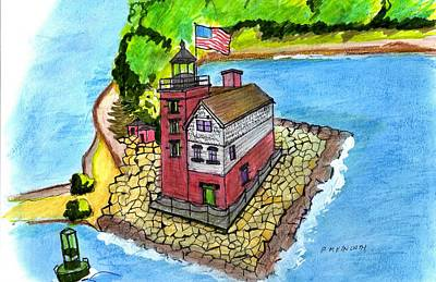 Drawing - Round Island Lighthouse by Paul Meinerth