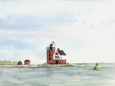 Round Island Lighthouse Art Print by Susan Mahoney