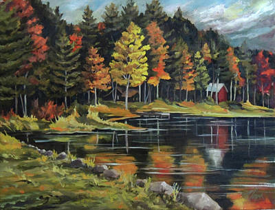 Painting - Round Pond Newbury Vermont Plein Air by Nancy Griswold