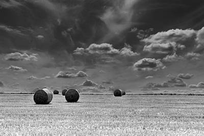 Round Straw Bales Landscape Art Print by John Williams