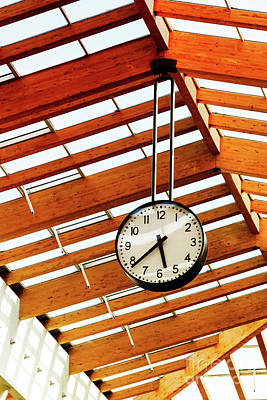 Round-the-clock On Weight And Wooden Ceiling Texture Art Print