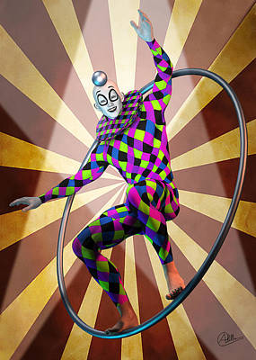Clown Mixed Media - Round Trapeze by Quim Abella