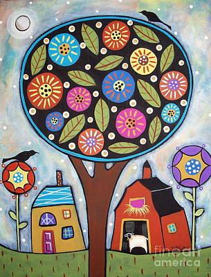 Sheep Folk Art Painting - Round Tree by Karla Gerard