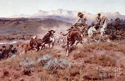 Ranchers Painting - Round Up On The Musselshell  by Charles Marion Russell