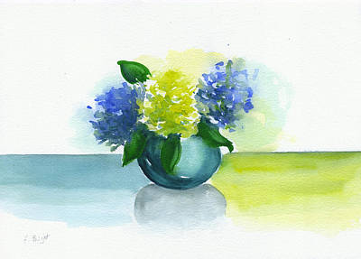 Painting - Round Vase Hydrangeas by Frank Bright