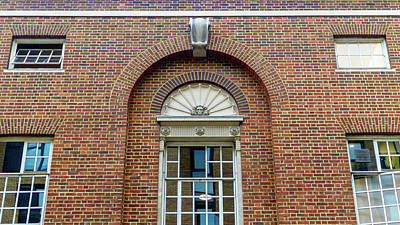 Photograph - Rounded Vintage Windows On The Red Brick Wall by Jacek Wojnarowski