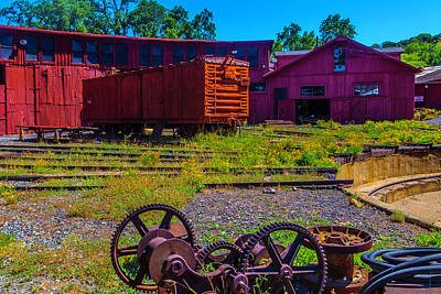 Roundhouse And Box Car Art Print