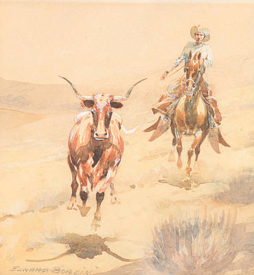 Steer Painting - Rounding Up A Steer by Edward Borein