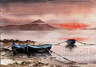 Painting - F 705  Roundstone Sunset, Galway by Val Byrne